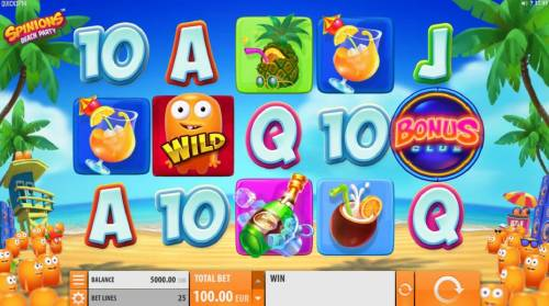 Spinions Beach Party Review Slots Main game board featuring five reels and 25 paylines with a $200,000 max payout