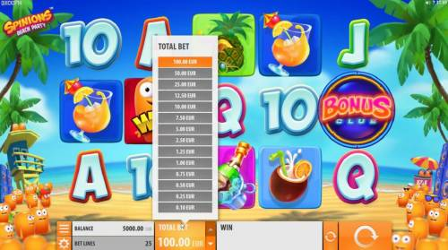 Spinions Beach Party Review Slots Click on Total Bet to choose a line stake