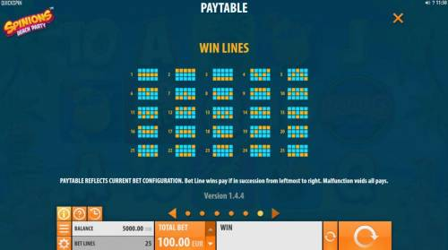 Spinions Beach Party Review Slots Payline Diagrams 1-25