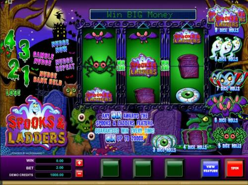 Spooks & Ladders Review Slots main game board featuring 3 reels and one payline