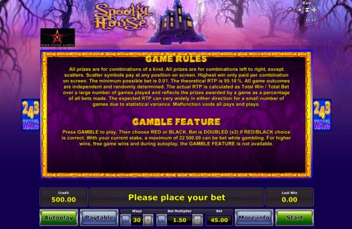 Spooky House Review Slots Gamble Feature Rules