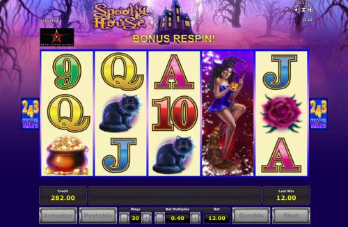Spooky House Review Slots Stacked wild symbol triggers a respin