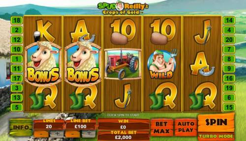 Spud O'Reilly's Crops of Gold Review Slots Main game board featuring five reels and 20 paylines with a $100,000 max payout