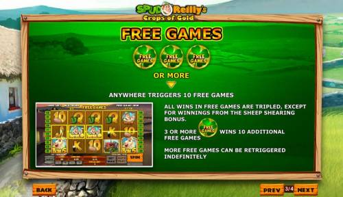 Spud O'Reilly's Crops of Gold Review Slots Three or more four-leaf clover symbols anywhere triggers 10 free games.