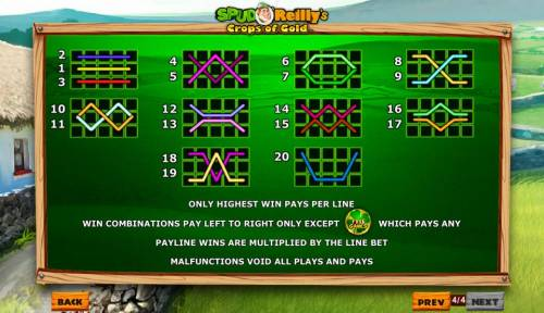Spud O'Reilly's Crops of Gold Review Slots Payline Diagrams 1-20. Only highest win pays per line.