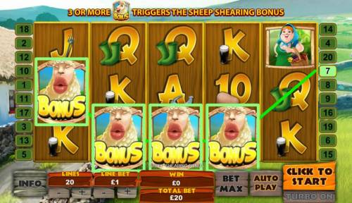 Spud O'Reilly's Crops of Gold Review Slots Four sheep bonus symbols triggers the Sheep Shearing Bonus.