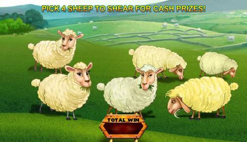 Spud O'Reilly's Crops of Gold Review Slots Pick 4 sheep to shear for cash.