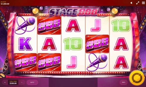 Stage 888 Review Slots Main game board featuring five reels and 20 paylines with a $25,000 max payout.