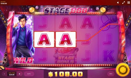 Stage 888 Review Slots Stacked wild triggers a 108.00 payout.