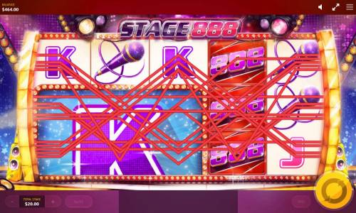 Stage 888 Review Slots Mega tile triggers multiple winning paylines.