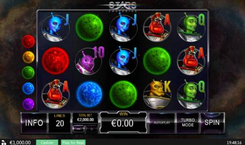 Stars Awakening Review Slots Main game board featuring five reels and 20 paylines with a $50,000 max payout.