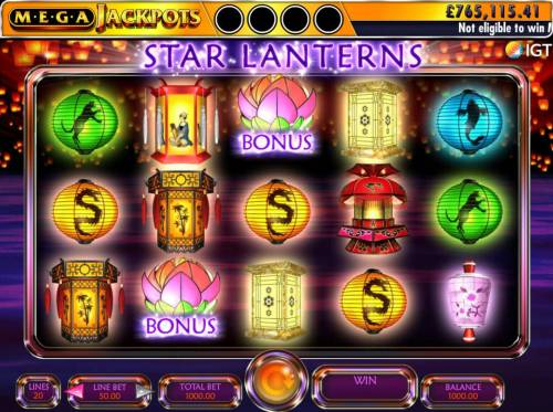 Star Lanterns Mega Jackpots Review Slots A Chinese festival of lanterns themed main game board featuring five reels and 20 paylines with a $250,000 max payout