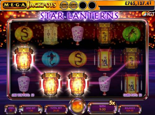 Star Lanterns Mega Jackpots Review Slots Floating Reels Feature triggers an additional 50.00 payout.