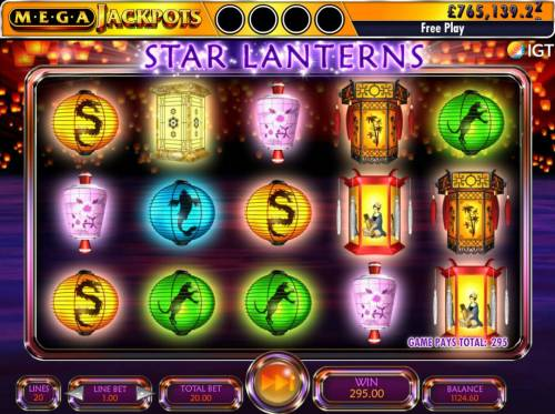Star Lanterns Mega Jackpots Review Slots Floating Reels feature ends when no more winning combinations appear. Here we have a total win of 295.00