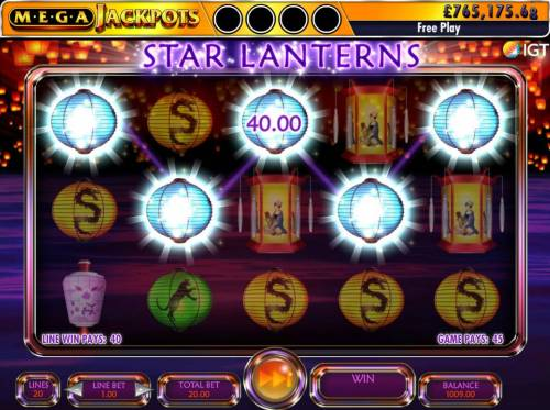 Star Lanterns Mega Jackpots Review Slots A winning Five of a Kind.