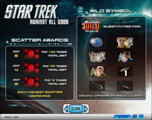 Star Trek - Against All Odds Review Slots Star Trek - Against All Odds slot game scatter awards and wild symbol
