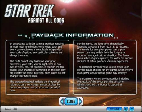 Star Trek - Against All Odds Review Slots Star Trek - Against All Odds slot game payback information