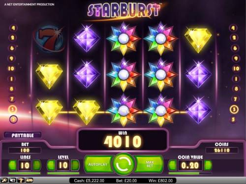 Starburst Review Slots Starburst big win payout of 4010 credits