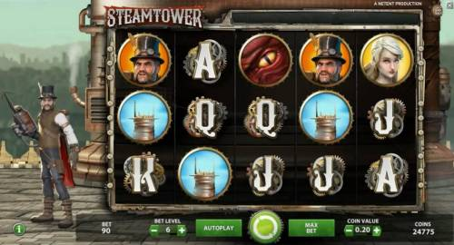 Steam Tower Review Slots Main game board featuring five reels and 15 paylines