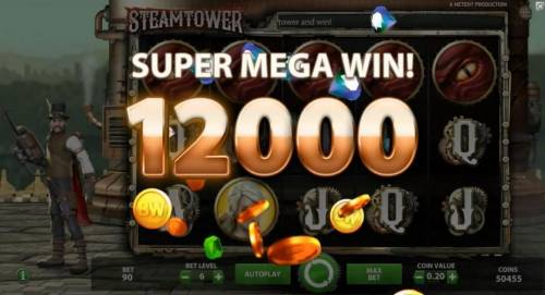 Steam Tower Review Slots Five Dragon eye symbols triggers a 12,000 coin SUPER MEGA WIN!