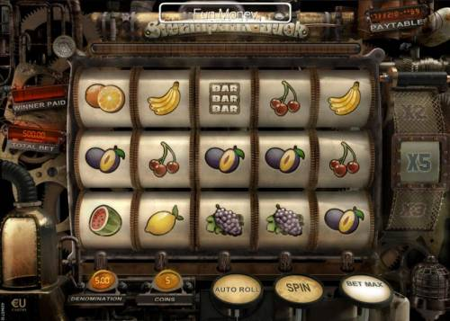 Steampunk Luck Review Slots Main game board featuring five reels and 20 paylines with a $37,500 max payout