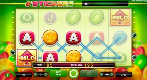 Stickers Review Slots A pair of winning paylines triggers a 195 coin payout.