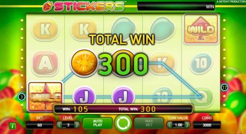 Stickers Review Slots The Sticky Spin feature triggers two more winning paylines for an additional 105 coins added to your total payout.