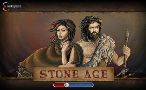 Stone Age Review Slots Splash screen - game loading - The game features a prehistoric caveman theme.