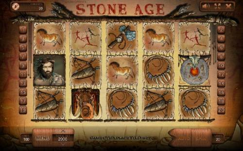 Stone Age Review Slots Main game board featuring five reels and 20 paylines with a $500,000 max payout