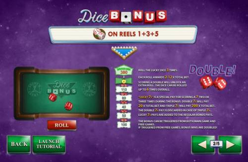 Streak of Luck Review Slots Dice Bonus is triggered by matching dice on reels 1, 3 and 5