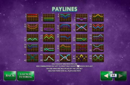 Streak of Luck Review Slots Payline Diagrams 1-50. Only highest win pays per line. Win combinations pay left to right only except scatter which pays any. Payline wins are multiplied by the line bet.