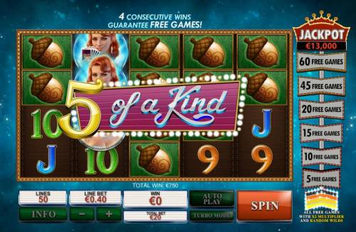 Streak of Luck Review Slots A five of a kind triggers a Big Win!