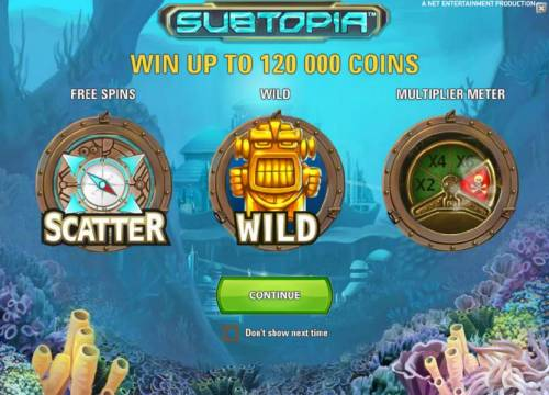 Subtopia Review Slots you can win up to 120000 coins when playing tis game. Also featuring free spins, wild symbol and a multiplier meter