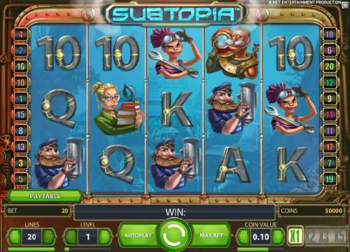Subtopia Review Slots main game board featuring five reels and twenty paylines