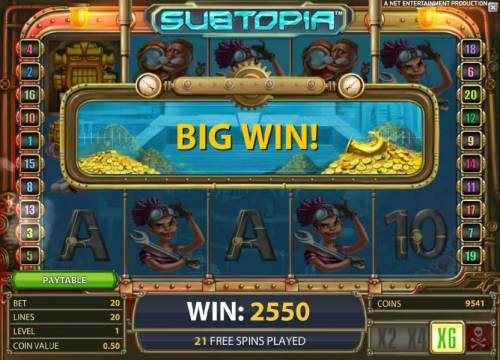 Subtopia Review Slots with the x6 multiplier, a 2550 coin big win is triggered