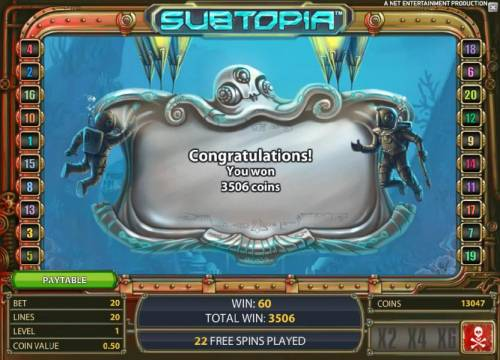 Subtopia Review Slots free spins feature pays out a total of 3506 coins