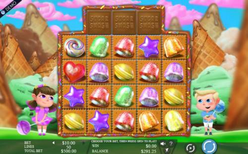 Sugar Smash Review Slots A candy themed main game board featuring five reels and 50 paylines with a $375,000 max payout