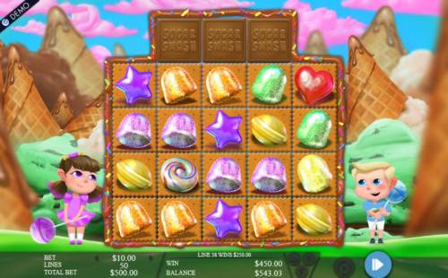 Sugar Smash Review Slots Multiple winning paylines triggers a 450.00 big win!