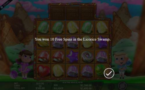 Sugar Smash Review Slots 10 Free Spins in the Licorice Swamp awarded.