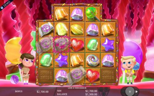 Sugar Smash Review Slots Multiple winning paylines triggers a 2,700.00 big win during the Licorice Swamp free spins feature!