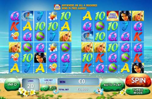 Sunset Beach Review Slots Main game board featuring five reels and 20 paylines with a progressive jackpot max payout
