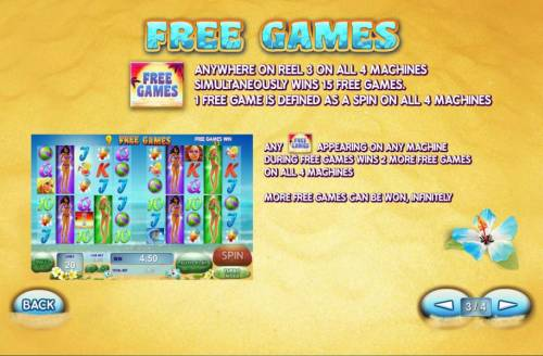Sunset Beach Review Slots Free games symbol anywhere on reel 3 on all 4 machines simutaneously wins 15 free games