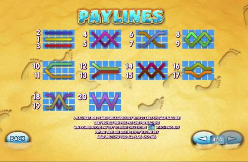 Sunset Beach Review Slots Payline Diagrams 1-20 Line wins pay left to right except scatters which pays any.