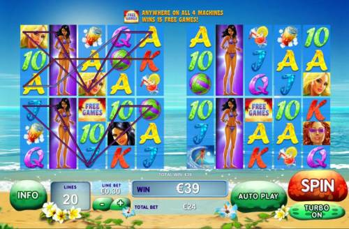 Sunset Beach Review Slots Multiple winning paylines triggered on two machines