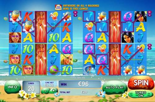 Sunset Beach Review Slots Multiple winning paylines triggered on all four machines