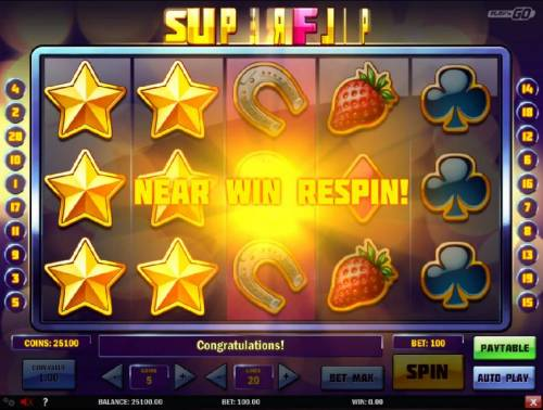 Super Flip Review Slots A near win respins is triggered by the gold star symbol stacked on reels 1 and 2.