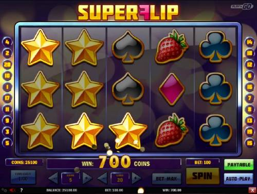 Super Flip Review Slots The respin feature triggers  multiple winning conbinations and a 700 coin pay out.
