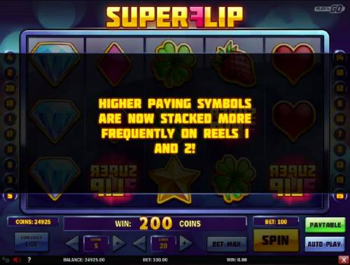 Super Flip Review Slots During the free spins feature, higher paying symbols are now stacked more frequently on reels 1 and 2!