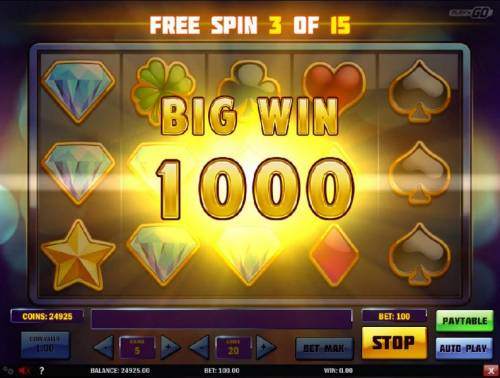 Super Flip Review Slots Diamond symbols combine to form multiple winning paylines and lead to a 1000 coin big win during the free spins feature.