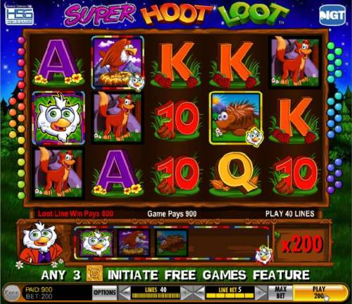 Super Hoot Loot Review Slots The Loot Line helps trigger a 900 coin jackpot